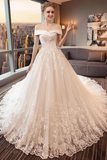 Gorgeous Off The Shoulder Lace Cathedral Train Wedding Dresses Princess Bridal STKPT58L82L