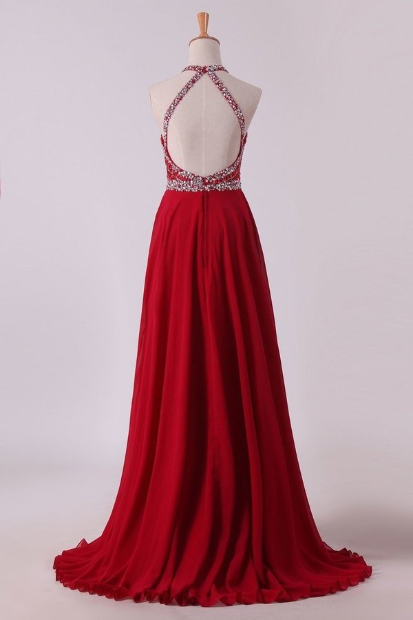 2020 A Line Halter Open Back Prom Dresses Sweep Train Chiffon & Tulle With PP1YG14G