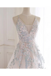 Beaded Spaghetti Strap Illusion V Neckline Wedding Dress With Colorful STKPH7CQTB3