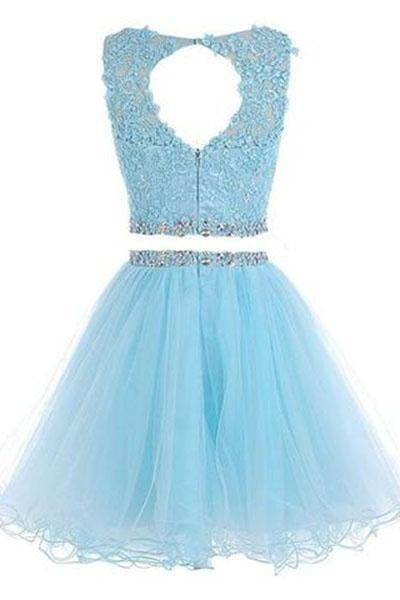 Two Pieces Prom Dresses Applique Short Homecoming Dresses