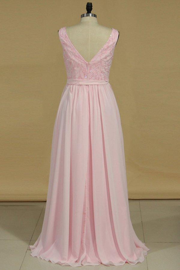 2020 A Line Bridesmaid Dresses V Neck Beaded Bodice Chiffon Floor P5FP689G