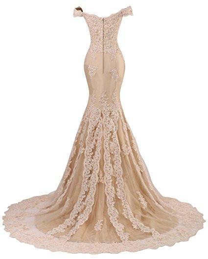 V Neckline Beaded Evening Gowns Mermaid Lace Prom Dresses Long