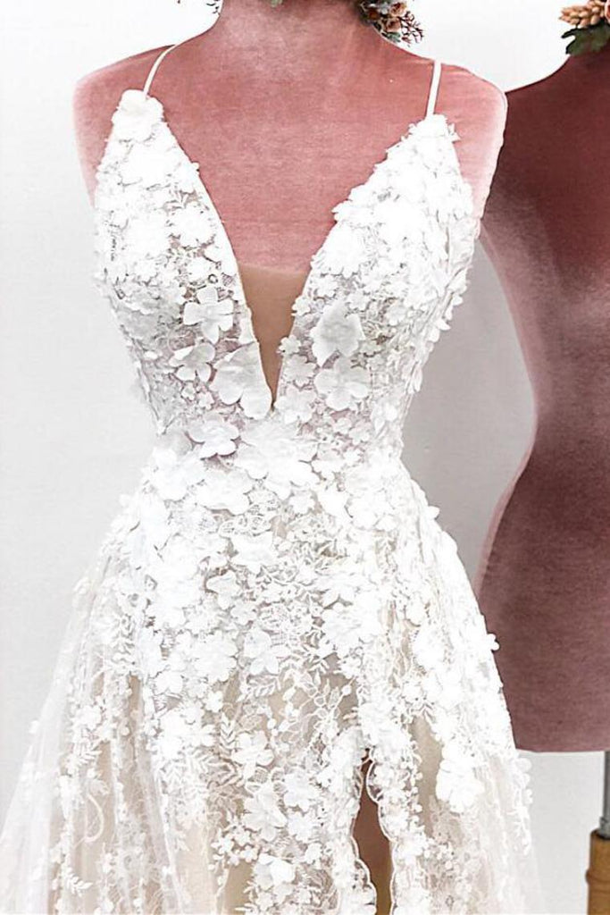 Unique Spaghetti Straps Lace Appliques V Neck Wedding Dresses Long Wedding STKPJ62MHLD