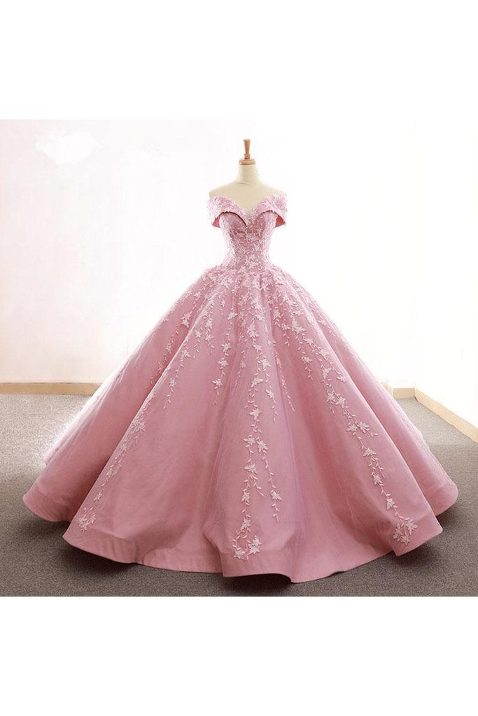 Ball Gown Off The Shoulder Satin Prom Dress With Appliques Long Quinceanera STKPDJZ6JB1