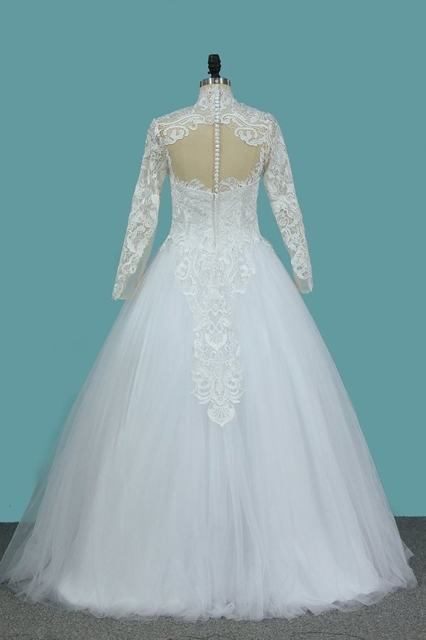 2020 A Line Long Sleeves High Neck Tulle With Applique Chapel Train Detachable PHB3BSRH