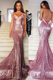 Rose Gold Sequin Mermaid Long Spaghetti Strap Sexy Backless Dresses For Prom