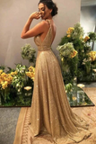 Gold V Neck Sequins Formal Dresses A Line Sleeveless Sparkly Sweep Train Prom STKPST6TC5H