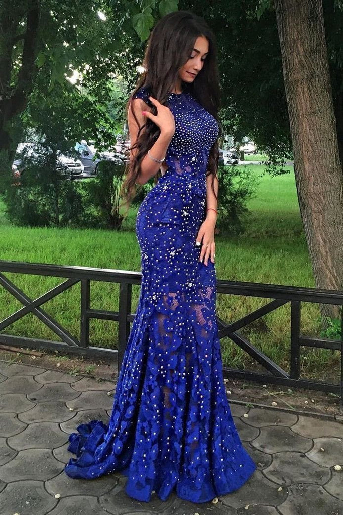 Royal Blue Jewel Sweep Train Lace Backless Mermaid Prom Dress with Beading