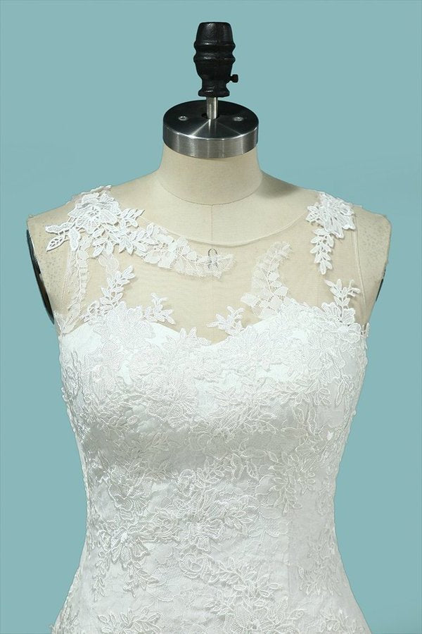 Scoop Lace With Applique Wedding Dresses PSCD5SSR