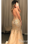 Gold Beaded Glistening Illusion V Neck Party Dress Backless Mermaid Long Prom STKP9TPGCT9