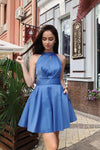 Simple A Line Halter Open Back Satin Blue Short Homecoming Dresses with Pockets