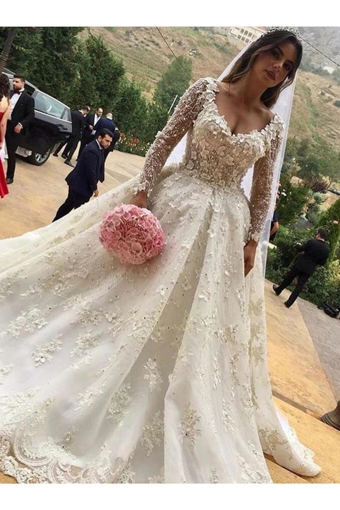 V-Neck Long Sleeves Ball Gown Wedding Dress With Appliques STKP2F2SCZH