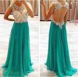 Sexy Backless Chiffon Long Scoop Beads Cap Sleeve A-Line Prom Dresses