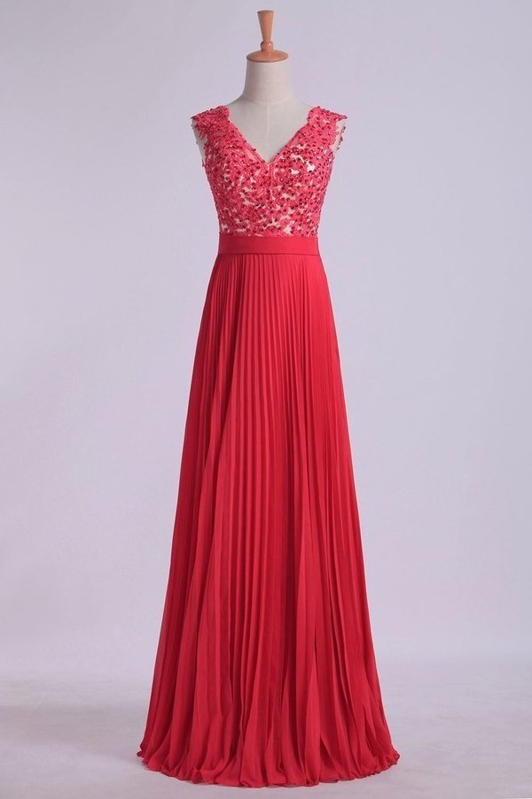 2020 V Neck Prom Dress Appliqued Bodice Ruched Waistband Flowing Chiffon P8DYAPTD