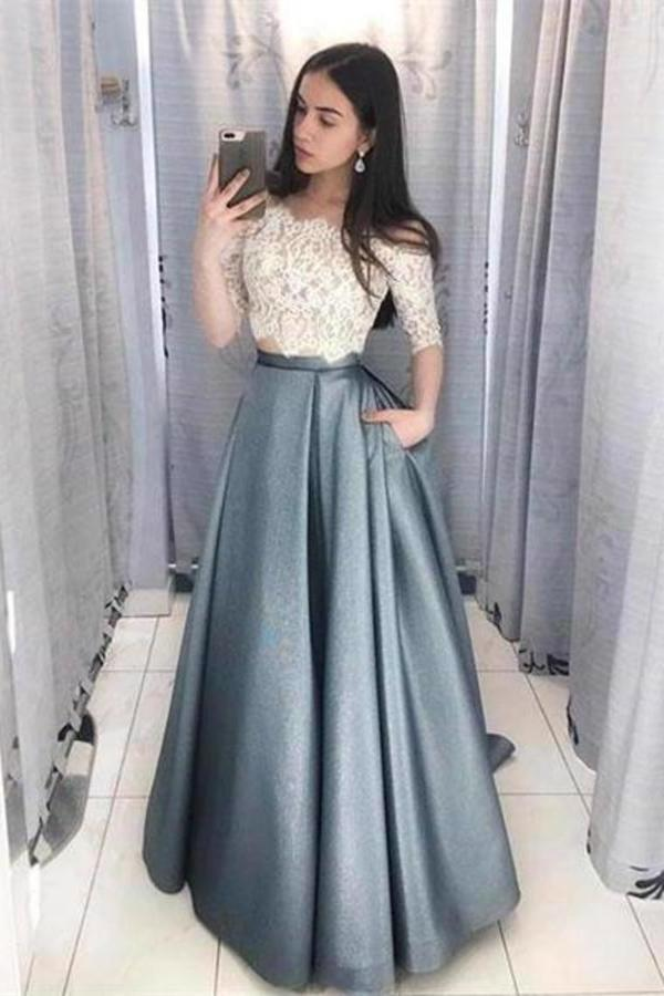 2 Pieces Long Lace Satin A-Line Elegant Prom Dresses PSKYQFHG