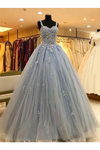 Ball Gown Straps Long Prom Dress Appliques Quinceanera STKPKS9FELB