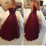 Sexy V-neck Burgundy Backless Floor-Length Lace Prom Dress with Beading