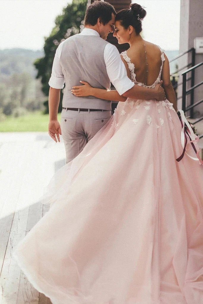 Sheer Round Neck Pink Wedding Dresses Backless Bridal Gown With Lace STK20469