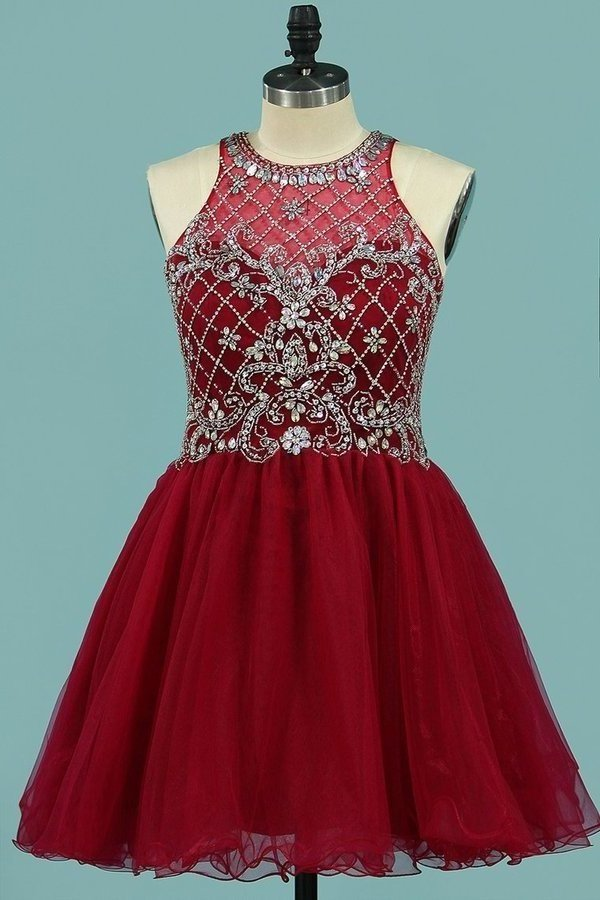 Scoop Homecoming Dresses A Line Tulle P28RKL5F