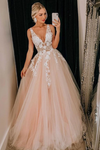 Puffy Deep V Neck Sleeveless Tulle Prom Dresses A Line Appliqued Floor Length Party STKPJ7FHZZE