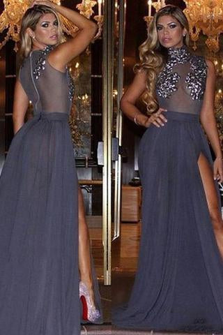 Navy Blue Lace Sheer Prom Dress Formal Dress Sexy Prom Dress Party Dress