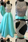 Long A-line Teal Beading Open Back Satin Modest Floor-Length Prom Dresses