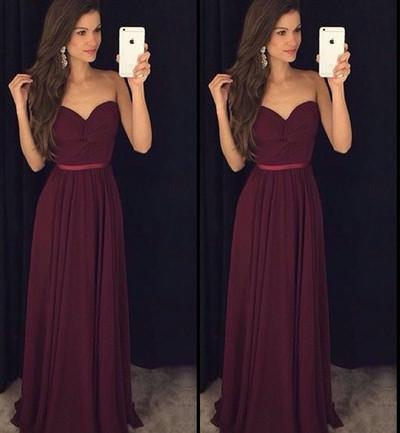 Vestido de Festa Burgundy Simple Chiffon Long Prom Dresses Sweetheart Prom Dresses