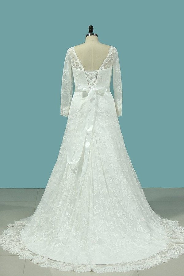 Scoop Long Sleeves Lace Wedding Dresses With Applique And PTYRLXK3