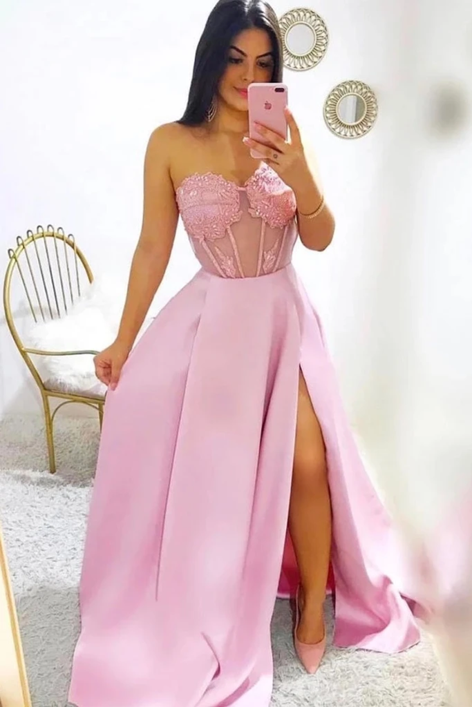 Modest A-Line Sweetheart Split Prom Dresses With STKPYMS3DHT