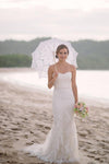 Subtle Sweetheart Strapless Lace Mermaid White Sleeveless Tulle Beach Wedding Dresses
