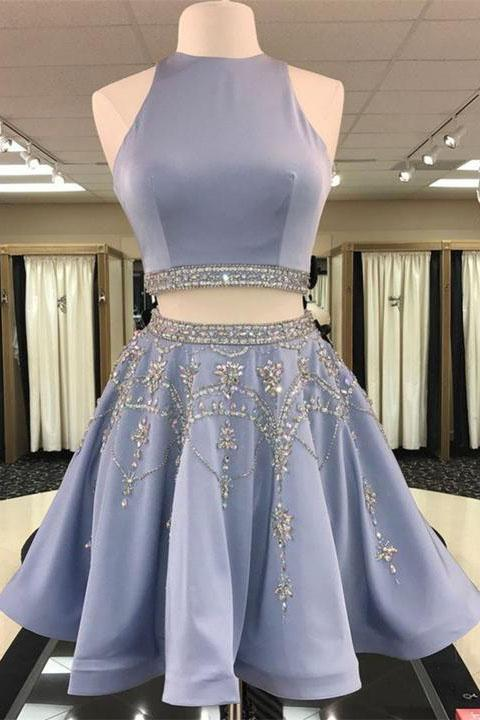 Unique Two Pieces Rhinestone Halter Open Back Short Party Dress Homecoming Dresses