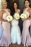 Special Mermaid Long Pink Bridesmaid Dress with Open Back