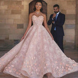 Princess Sexy A-Line Sweetheart Strapless Pink Beaded Lace Prom Dress with Appliques