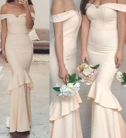 Off-the-Shoulder Sweetheart Mermaid Unique Long Bridesmaid Dresses