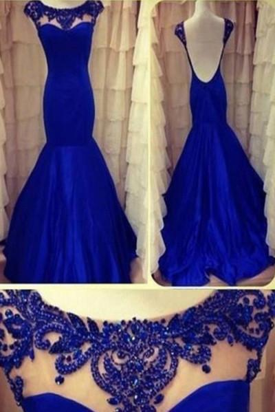 Sexy Mermaid High Neck Cap Sleeve Scoop Beads Backless Royal Blue Evening Dresses