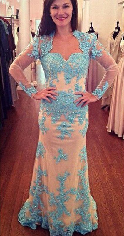 Long Sleeves Lace Sheath Long Prom Dresses Mother of Bride Dresses