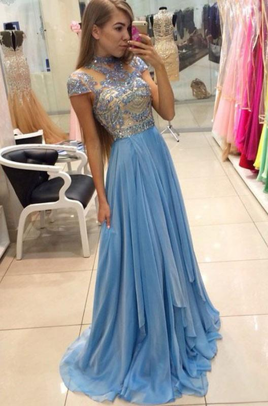 Hot Selling Beading Bodice A-Line Short Sleeves Empire Waist Long Prom Dresses