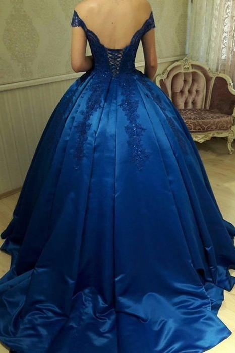 Unique Royal Blue Off Shoulder Lace Sweetheart Appliques Long Ball Gown Prom Dresses