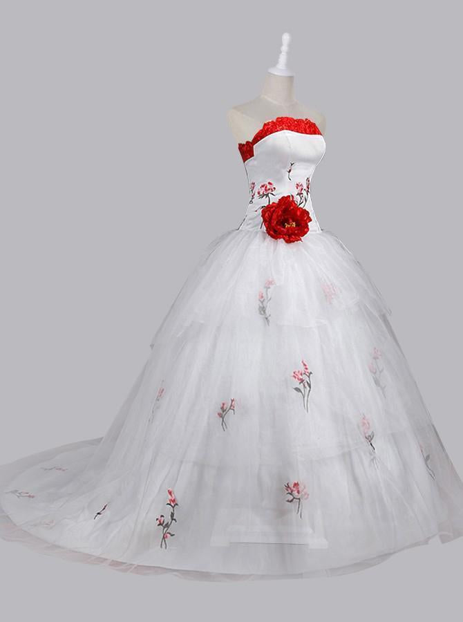 Stunning Ball Gown Strapless Wedding Dress with Embroidery Handmade Flower Lace-up