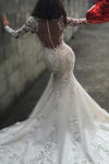 Sexy White Yarn Button Back Long Sleeve Lace Mermaid Charming Chapel Trailing Wedding Dress