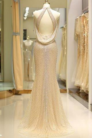 Mermaid High Neck Floor Length Split Gold Prom Dresses with Sequins Beading