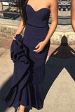 Simple Sweetheart Navy Blue Mermaid Prom Dress with Sash Sweep Train