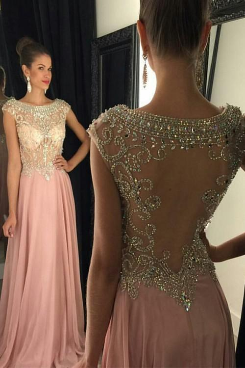 New Pearl Pink Backless Modest with Sparkle Cap Sleeves Beads Long Chiffon Prom Dresses