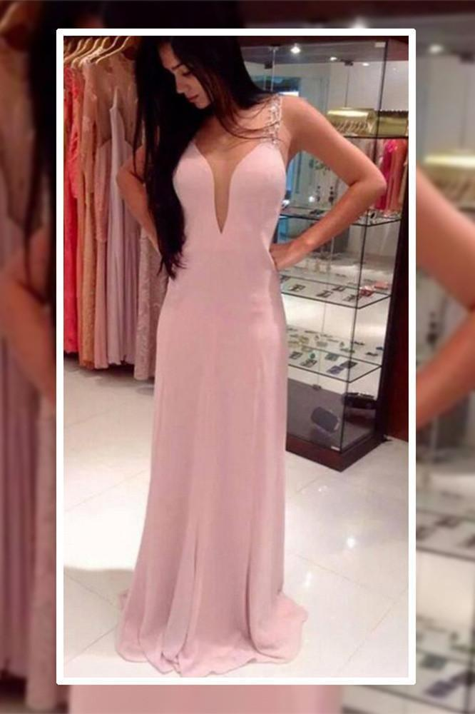 Pink Long Chiffon See Through Sexy V-Neck Sleeveless A-Line Yarn Prom Dresses