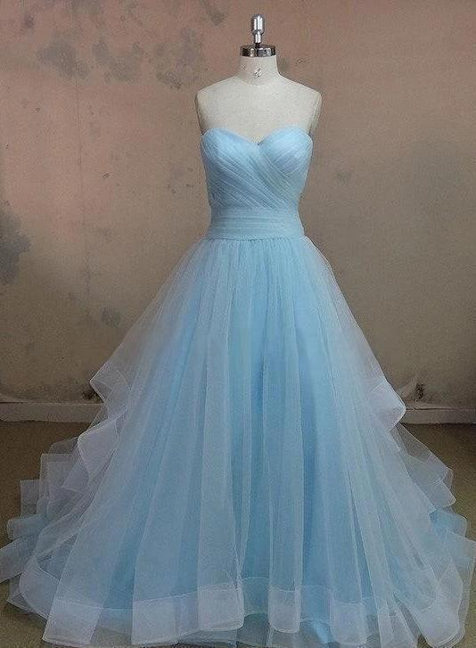 Hot Sale Charming Sweetheart A-line Tulle Floor Length Strapless Sleeveless Evening Dresses