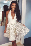 Ivory Lace Applique Halter Sexy Homecoming Dresses V Neck Sleeveless Short Party Dress