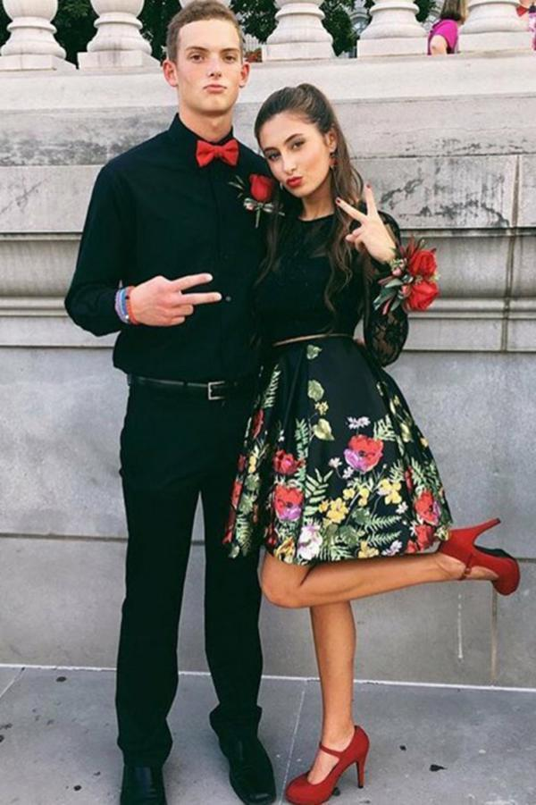 Two Piece Crew Open Back Above-Knee Black Printed Homecoming Dress with Pockets