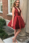 V-Neck Short Burgundy Homecoming Dress Sweet 16 Cocktail Dresses Semi Formal Dresses