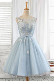 Light Blue Tulle Short Prom Dress Scoop Straps Homecoming Dresses with Lace up