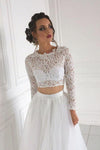 Long Sleeve Lace Round Neck Ivory Boho Wedding Dresses with Tulle Beach Bridal Dresses